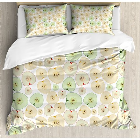 Apple King Size Duvet Cover Set  Fruits Cut In Half Cores And Seeds Of Apples Refreshing Vegetarian Options Abstract  Decorative 3 Piece Bedding Set With 2 Pillow Shams  Multicolor  By Ambesonne