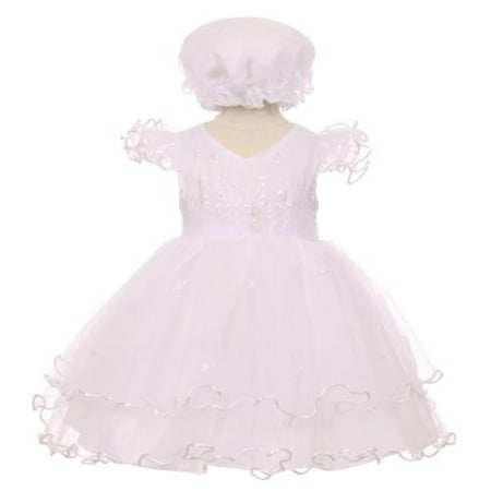 Baby Girls White Precious Ruffle Sleeves Christening Baptism Bonnet Dress - Baptism Or Christening