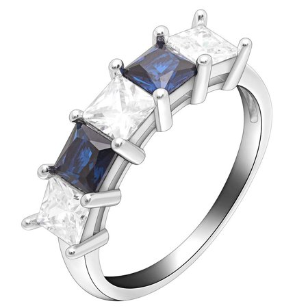 Katie 5 Stone Princess Cut Sterling Silver Blue Clear Anniversary Band Wedding Bridal Ring Ginger Lyne