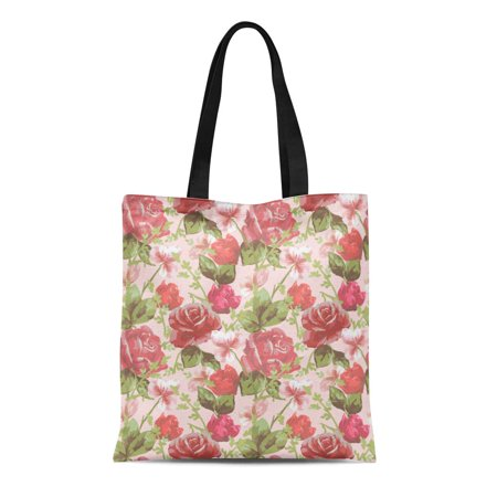 Batik Lightweight Tote (SIDONKU Canvas Tote Bag Pink Batik Delicate Floral Pattern Roses Red Beautiful Blossom Reusable Shoulder Grocery Shopping Bags Handbag)