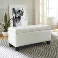Faux Leather Storage Ottoman, White