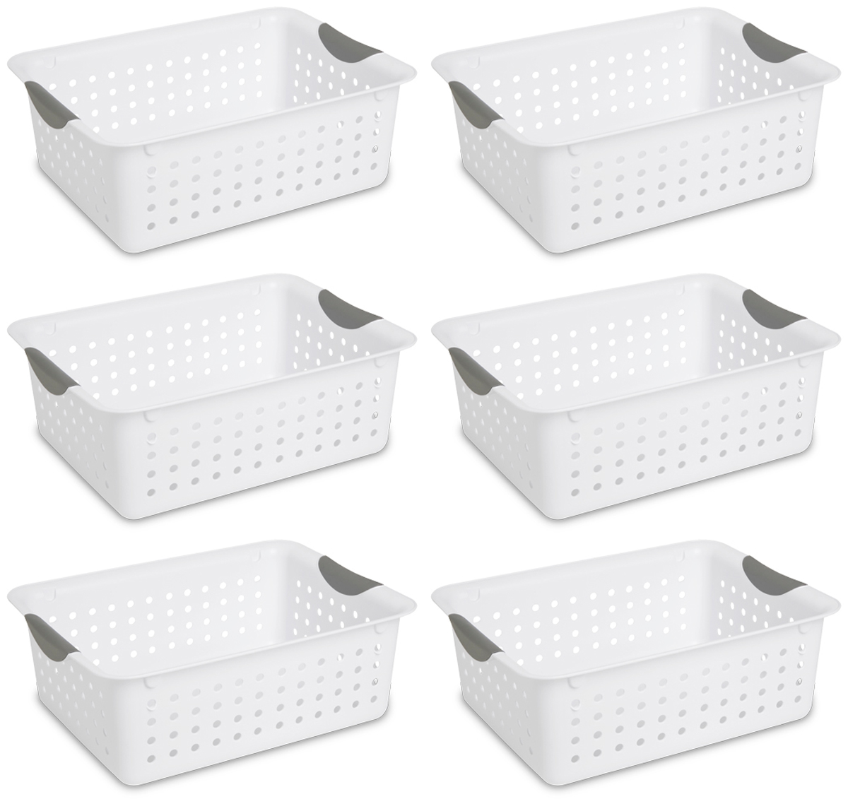 Sterilite Medium Ultra Plastic Storage Organizer Basket, White (6 Pack) 16248006
