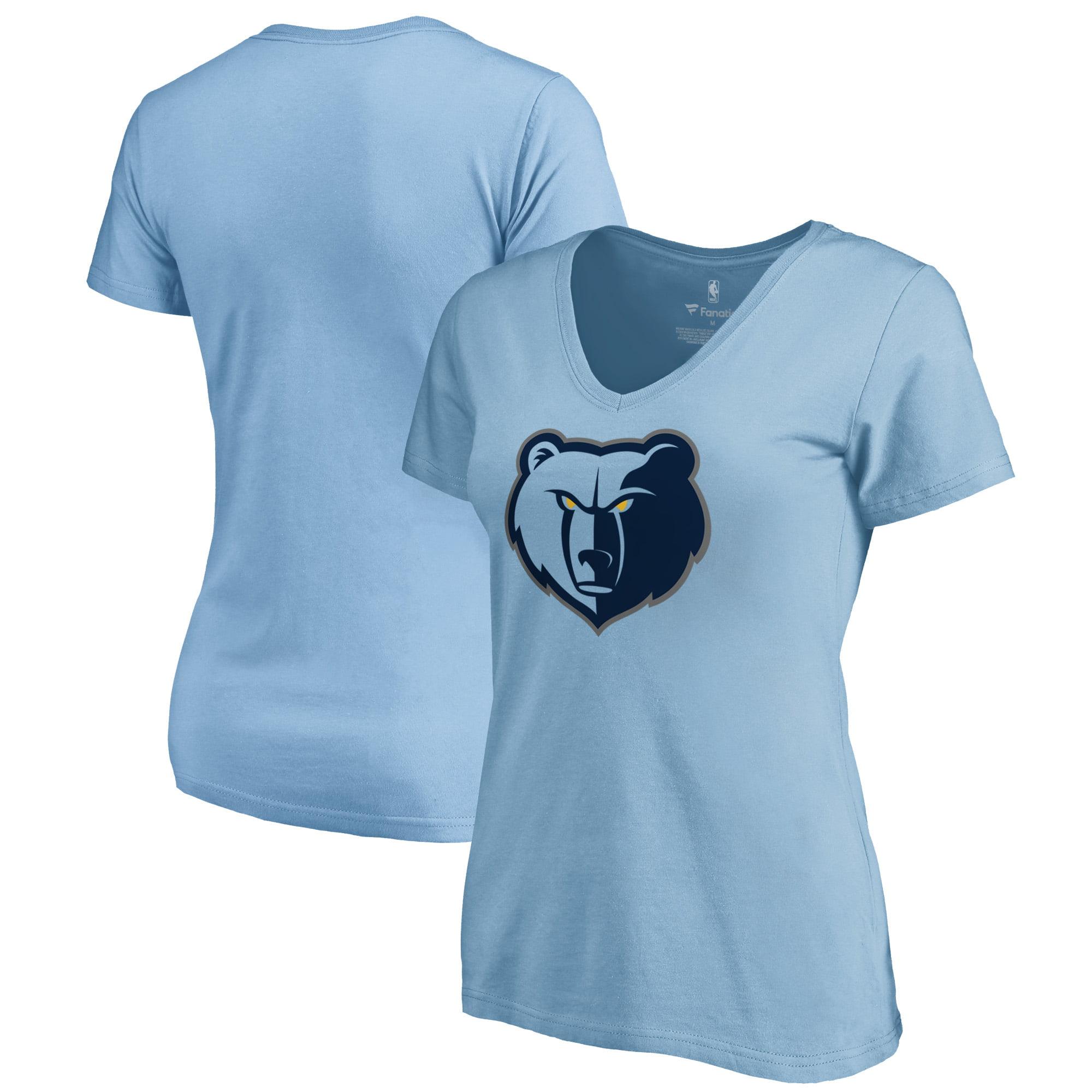 Memphis Grizzlies Fanatics Branded Women's Primary Logo V-Neck T-Shirt - Light Blue