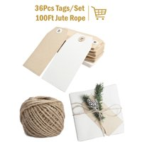 LaRibbons 36Pcs Christmas Brown & White Kraft Paper Gifts Tags with 100 Ft Natural Jute Twine for Wedding,Party 6Pcs/Pack