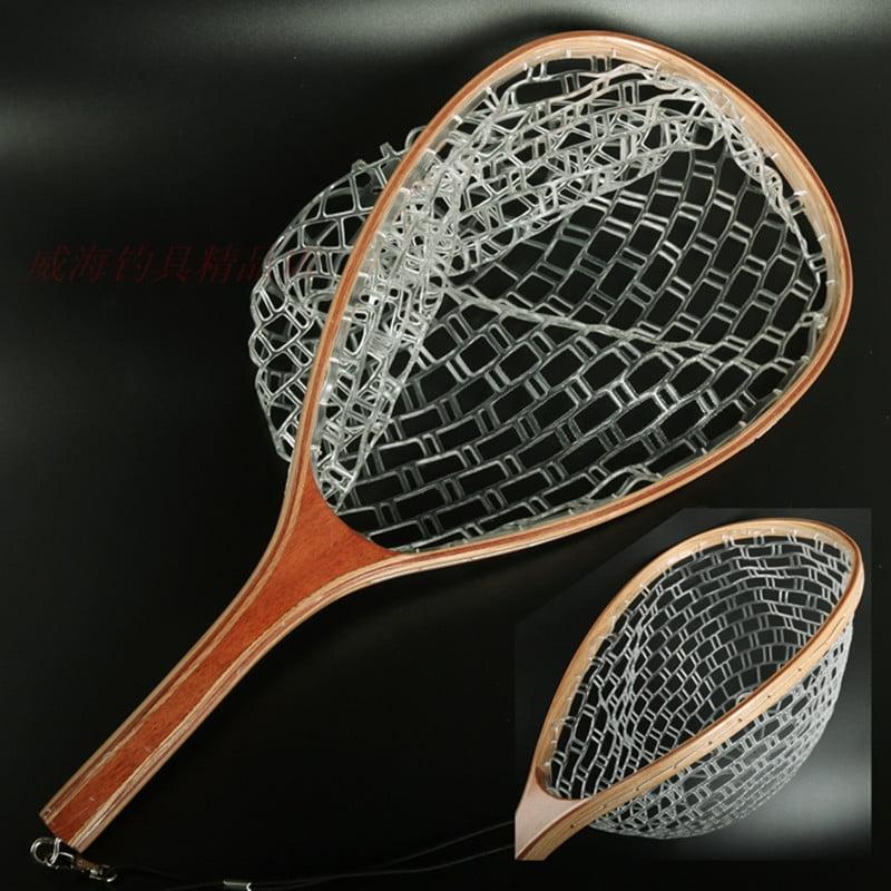 28 Inch Short Handle Rubber Landing Net Wooden Handle Fly Fishing No Hook Snag