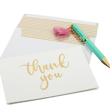 Andaz Press Gold Foil Letterpress Thank You Cards with Self Seal Envelopes, Bulk 100-Pack Note Cards, Embossed