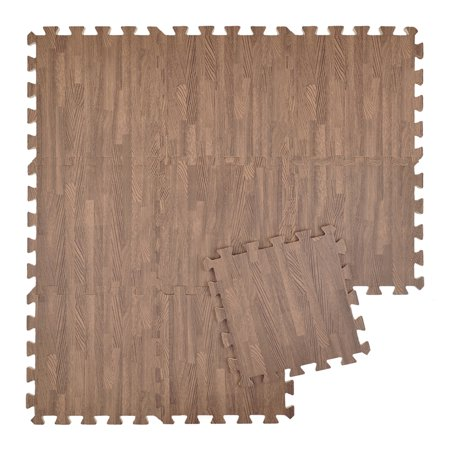 Aspire 9 Sqft Tiles 12 Protective Floor Mat Eva Foam Wood Grain Exercise For Playroom