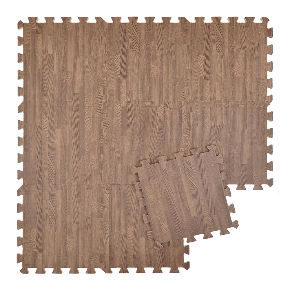 """Aspire 9 SQFT 9 Tiles 12"""" Protective Floor Mat Eva Foam Wood Grain Exercise Mat for Playroom"""
