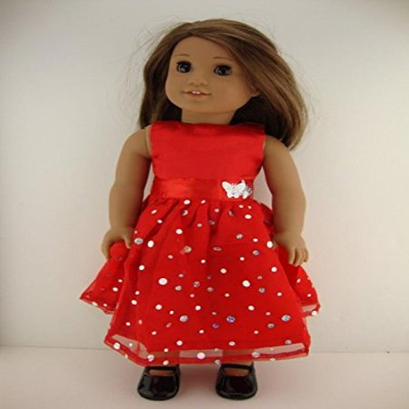 Red Dress with Sequined Skirt - Designed for 18 Inch Doll, American Girl Doll. Shoes Sold Separately.