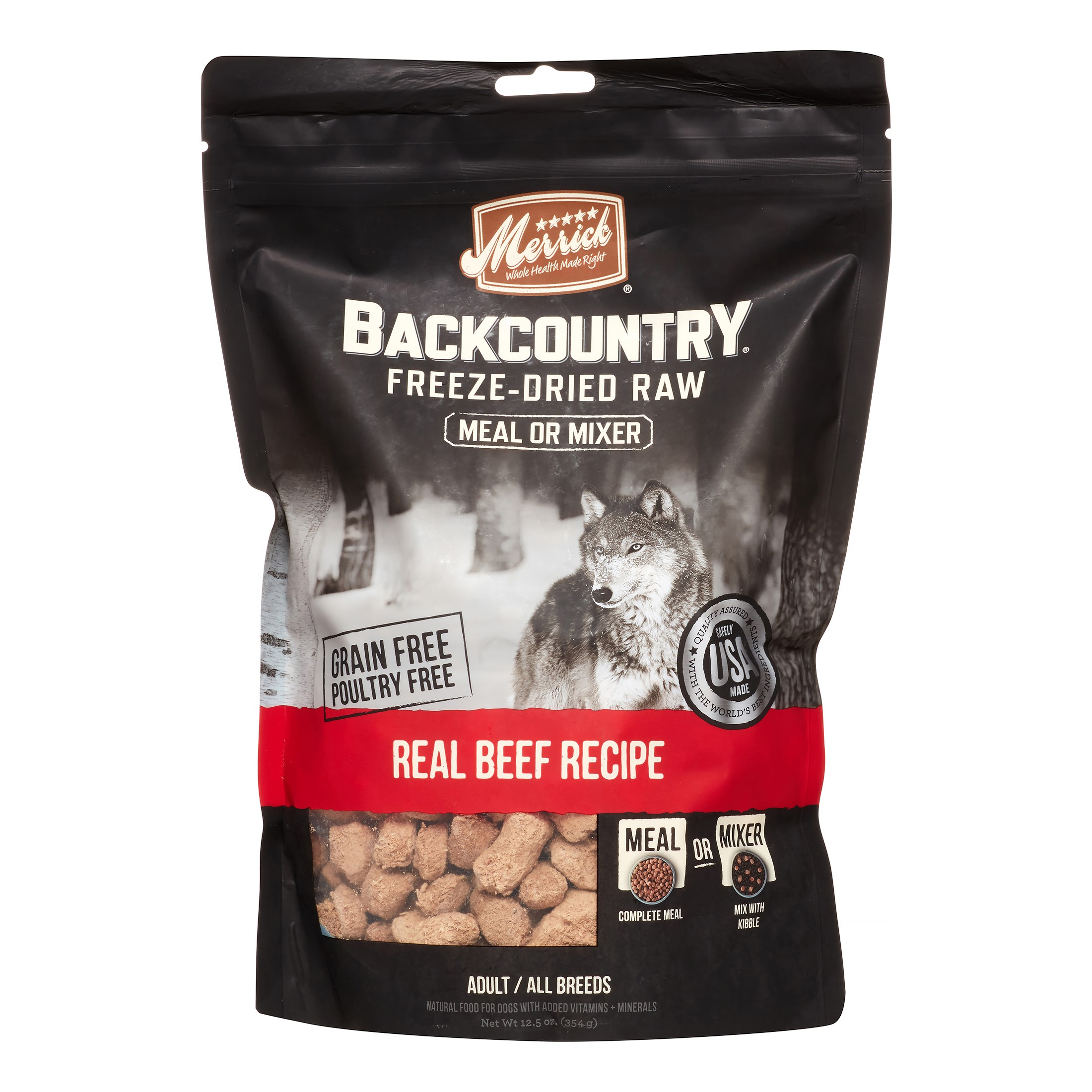 Merrick Backcountry Grain-Free Real Beef Recipe Freeze Dried Dog Food, 12.5 oz