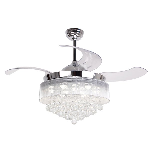 Ceiling Fans With Lights 42 Modern Led Ceiling Fan Retractable Blades Crystal Chandelier Fan With Remote Control 4000k Cool White Not Dimmable Chrome Finished Walmart Com Walmart Com