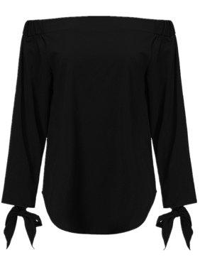 Women Vintage Bowknot Cuff 3/4 Sleeve Off Shoulder Comfy Blouses