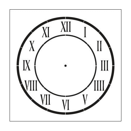 D'Anjou Clock Stencil by StudioR12 | Roman Numeral Clock Face Art - Medium 9 x 9-inch Reusable Mylar Template | Painting, Chalk, Mixed Media | Use for Crafting, DIY Home Decor - STCL510_03 - Clock Craft