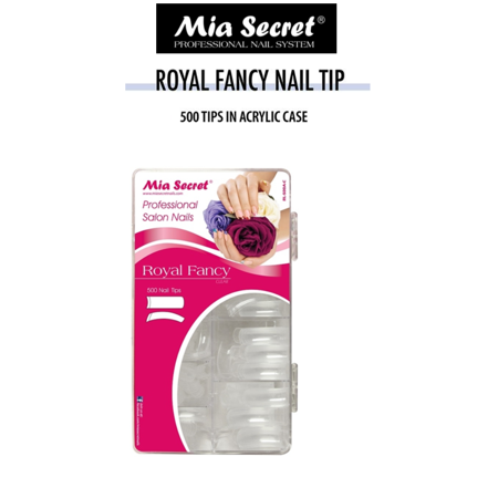 Mia Secret - 500 Nail Tip Royal Fancy - Clear + FREE Temporary Body Tattoo - Kc Royals Tattoos