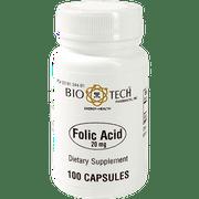 Bio-Tech Pharmacal Folic Acid Capsules, 20 mg, 100 Ct