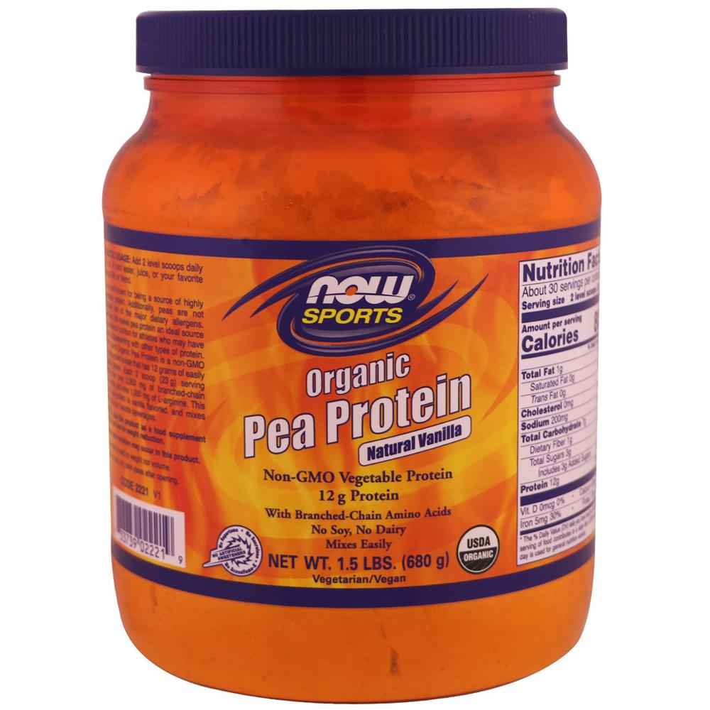 NOW Foods NOW Sports Organic Pea Protein Powder Natural Vanilla Flavor Non-GMO Vegetable Protein - 1.5 lb