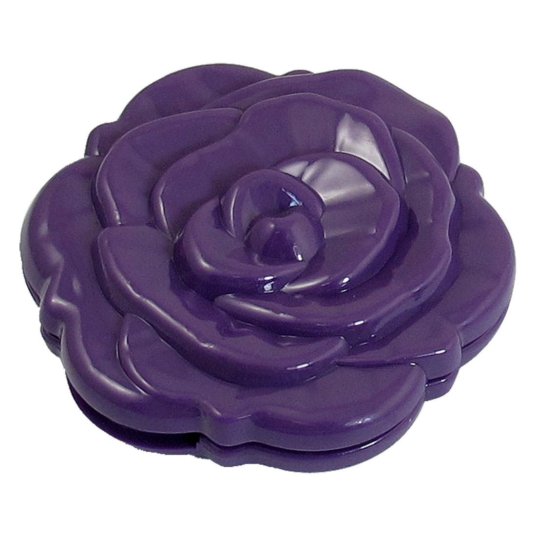 Purple Foldable Rose Pattern Double Side Round Makeup Compact Mirror