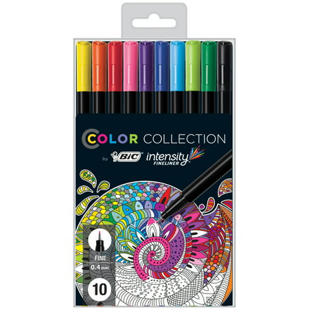 BIC Color Collection Intensity Fineliner Marker Pen, Assorted Colors, 10