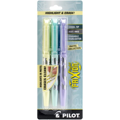 Pilot FriXion Light Pastel Erasable Highlighters, 3pk, Yellow, Blue and Purple
