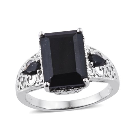 Statement Ring Octagon Black Tourmaline Gift Jewelry for Women Ct 6.8