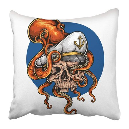 WOPOP Blue Tattoo of Octopus Holding Captain Skull with Tentacle Kraken Aggressive Anchor Angry Animal Pillowcase 18x18 inch - Tattoos Of Animals