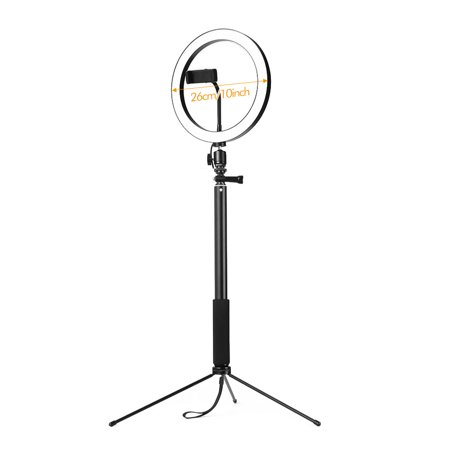 26cm/10 Inch 3200K-5600K Bi-color Dimmable Ring Video Light 12W with Black Selfie Stick Tabletop Tripod for Making-up Live Streaming Vlogging Self-portrait Photography - image 3 of 7