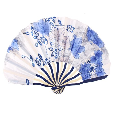 Summer Bamboo - Lady Bamboo Frame Floral Printed Seashell Shaped Summer Hand Folding Cooling Fan