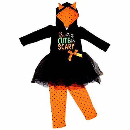 Unique Baby Girls Scary Cute Black Cat Halloween Hoodie Outfit (2T/XS, Black)