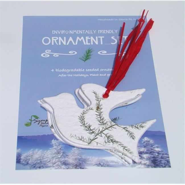 Symphony ret-or4s-17 Dove Ornament with Raffia - Set of 4
