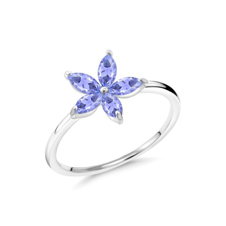 0.75 Ct Marquise Blue Tanzanite 10K White Gold Ring