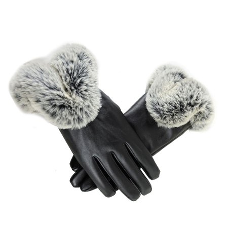 1 Pair Leather - 1 pair Womens Faux Leather Gloves Autumn Winter Warm Rabbit Fur Mittens