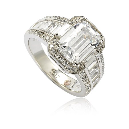 553d49553 Suzy Levian - Sterling Silver White Emerald-Cut Cubic Zirconia Engagement  Ring - Walmart.com