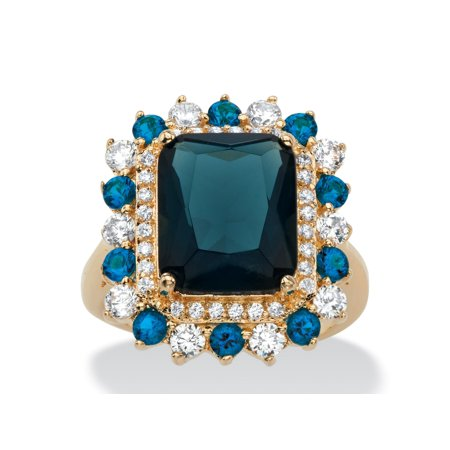 .80 TCW Emerald-Cut Blue Glass and Cubic Zirconia Halo Cocktail Ring 14k Yellow Gold-Plated ()