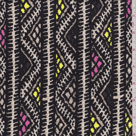 Black Zig Zag Stripe Cotton Lawn, Fabric Sold By the Yard