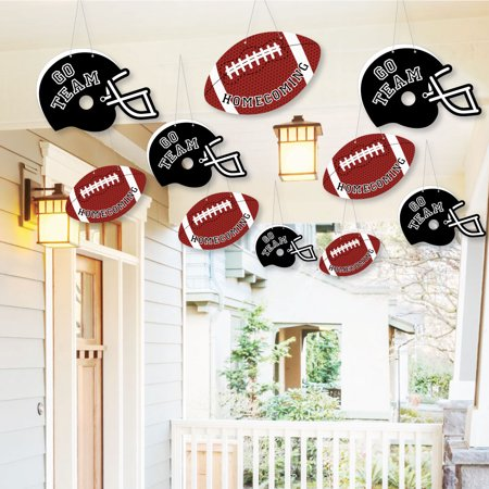 Hanging Homecoming - Outdoor Football Themed Hanging Porch & Tree Yard Decorations - 10 Pieces - Church Homecoming Themes