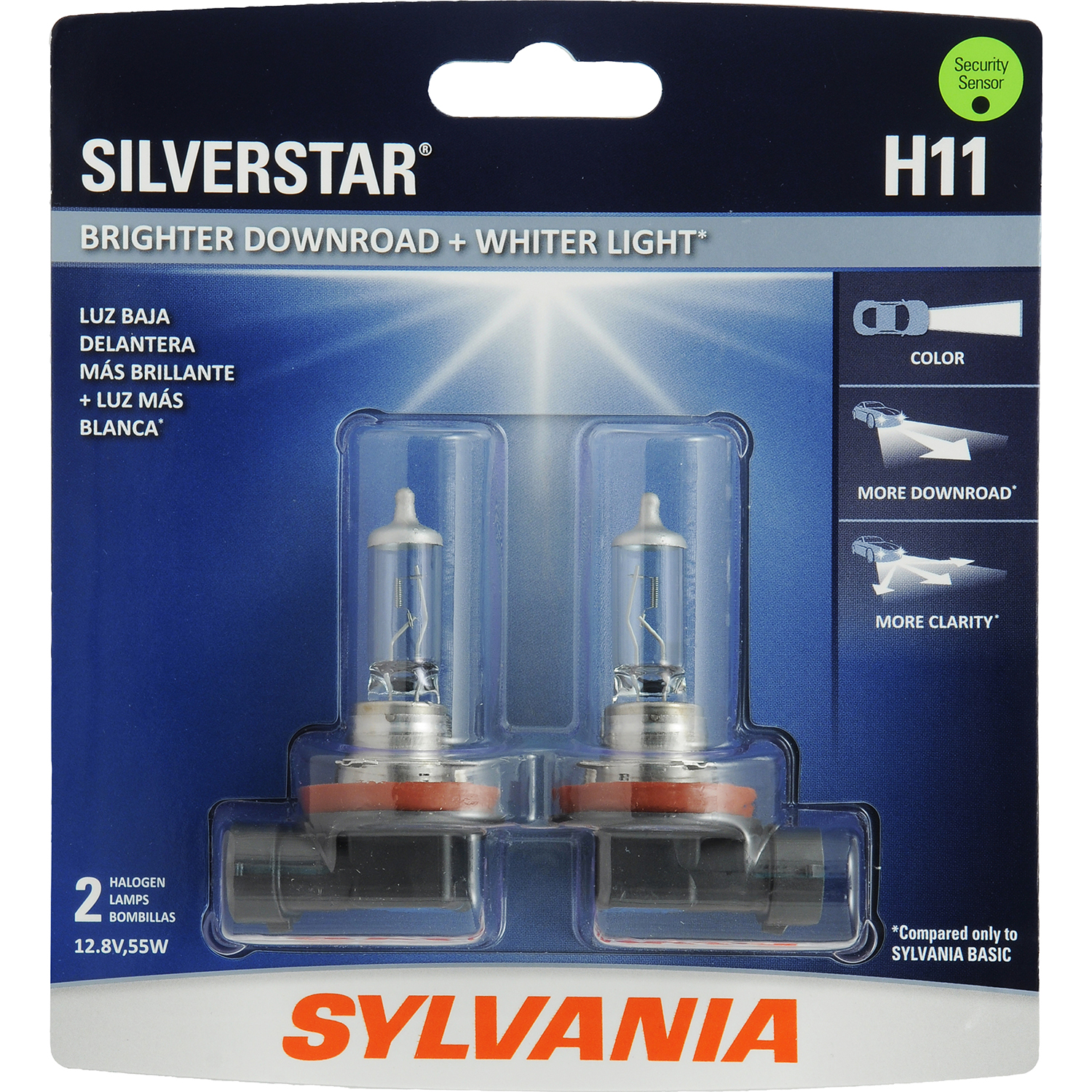 SYLVANIA H11 SilverStar Halogen Headlight Bulb, Pack of 2