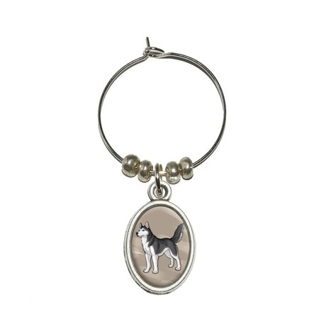 Siberian Husky - Pet Dog Oval Wine Glass Charm (Huskies Art Glass)