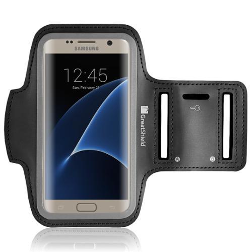 GreatShield FIT Sport Armband for HTC 10 / Samsung Galaxy S7 [Stretchable Neoprene | Key Storage] - Black