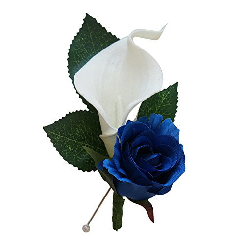 your color rose with calla lily prom dance small corsage boutonniere red white orange coral blue yellow ivory navy aqua purple pink