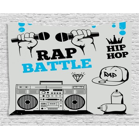 Hip Hop Tapestry, Hip Hop Elements Freestyle Rap Duel with Microphones Theme, Wall Hanging for Bedroom Living Room Dorm Decor, 60W X 40L Inches, Azure Blue Black and Pale Grey, by Ambesonne - Hip Hop Themes