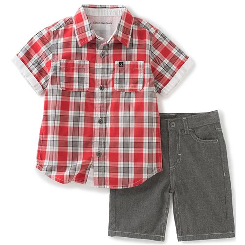 Calvin Klein Kids Boys 4-7 Plaid Woven Short Set (Red 6)