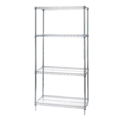 "Seville Classics Heavy-Duty 4-Tier Chrome Wire Shelving, 36"" x 18"" x 72"""