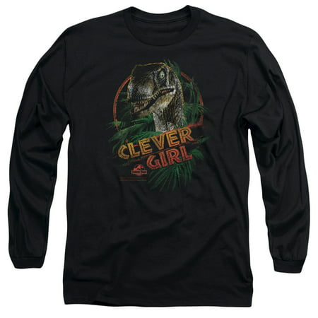 Jurassic Park Dinosaur Movie Spielberg Clever Girl Adult Long Sleeve T-Shirt (Dinosaur Shirts For Adults)
