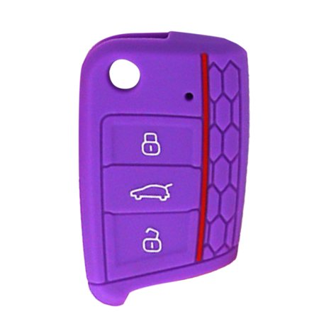 Protective Silicone Key Cover Remote Key Fob Case Skin Cover for Volkswagen  Golf 7 - Purple