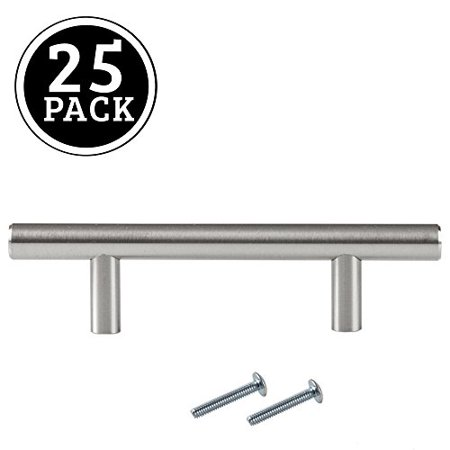 Satin Nickel Kitchen Cabinet Pulls - 3 Inch Bar - 25 Pack of Kitchen  Cabinet Hardware