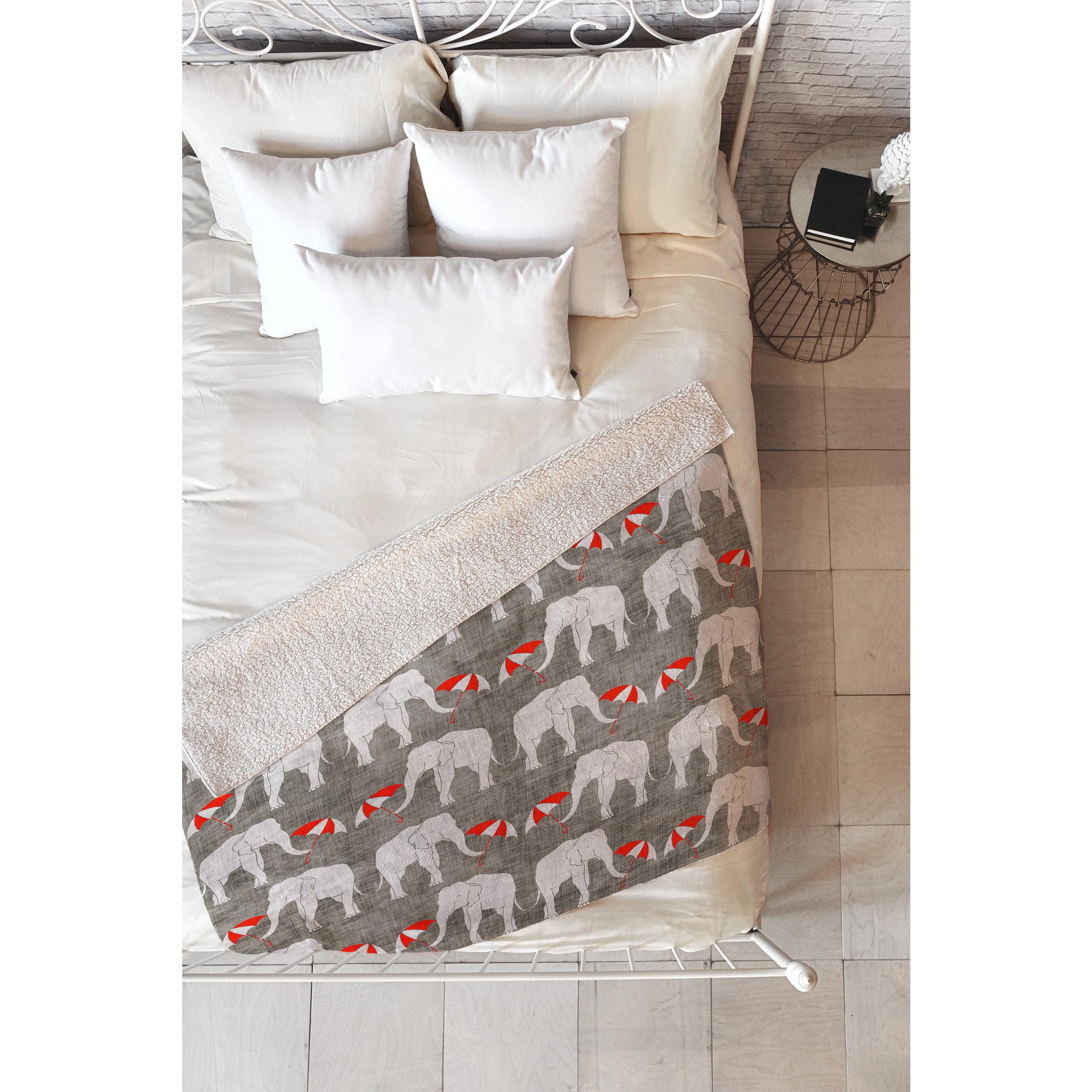 DENY Designs Holli Zollinger Elephant and Umbrella Red Fleece Throw