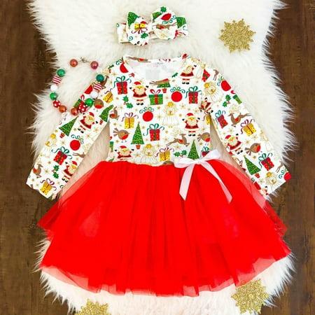 Christmas Toddler Baby Girl Kids Santa Party Lace Tutu Tulle Princess Dress 2-7T - Baby Santa Dress