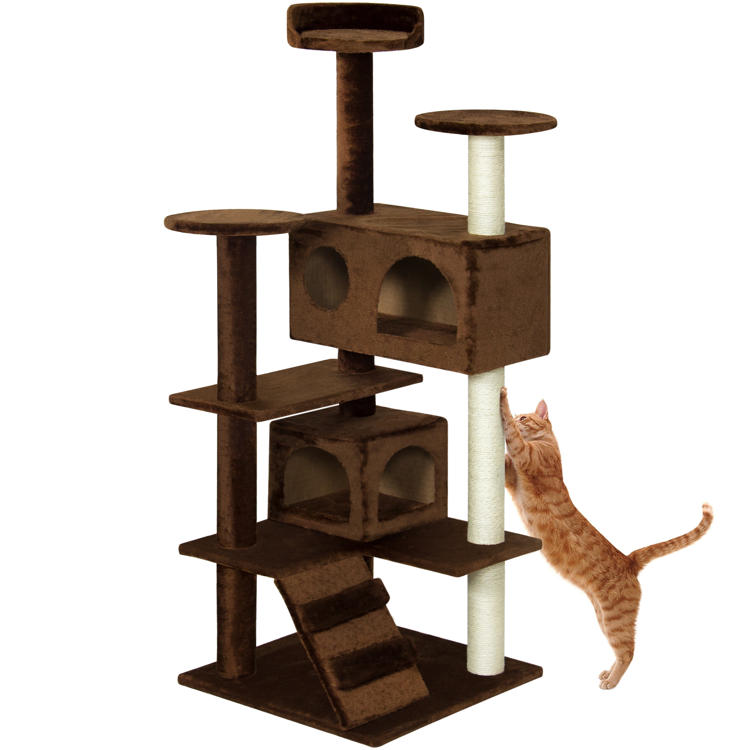 Best Choice Products 53in Multi-Level Cat Tree Scratcher Condo Tower, Brown