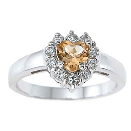 Iceposh 925 Sterling Silver Genuine Citrine Engagement Rings For