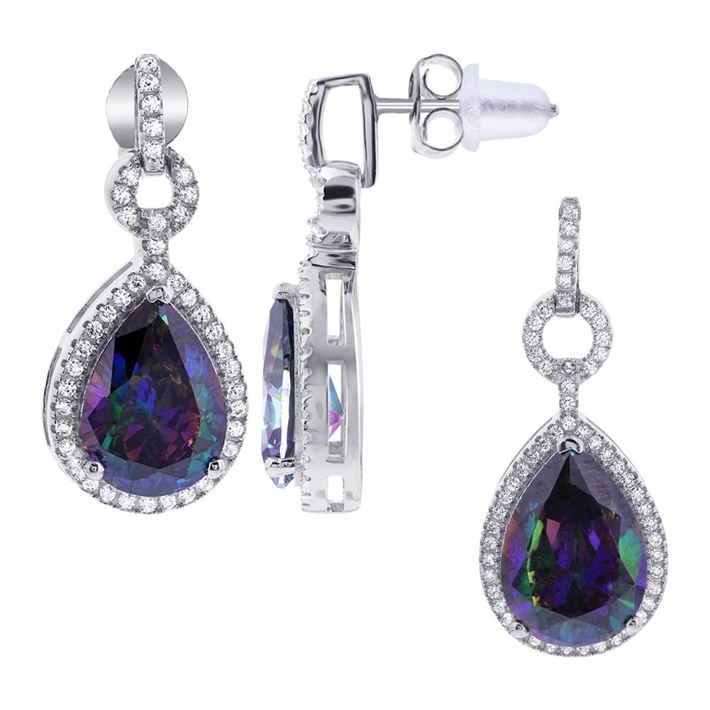 Gem Avenue 925 Sterling Silver Teardrop Shape Stone with Cubic Zirconia Accents Earrings Pendant Set by